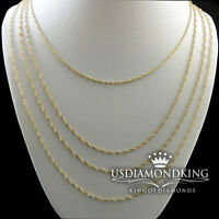 WOMEN'S LADIES MEN'S 10K YELLOW GOLD 1MM SINGAPORE TWISTER ROPE CHAIN NECKLACE