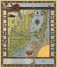 Pictorial Miami Florida Map Antique Style Wall Art Poster Print Vintage History