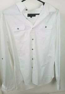Jonathan Adams Mens Long sleeve Shirt White Corrugated Sz XL