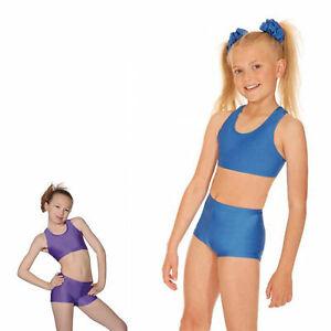 GIRLS CROP TOP & HOT PANTS - GYMNASTICS, DANCE, BALLET KIDS NYLON  COSTUME