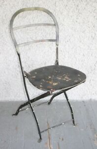 Vintage French Bistro Country Metal Folding Chair. Industrial Distressed Garden
