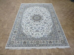 8'1 X 11'7 Hand Knotted Persian Ivory Fine Nain With Silk Oriental Rug G6575