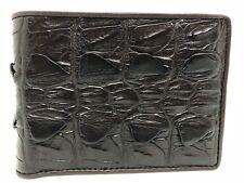 Dark Brown Genuine Crocodile Alligator Tail Skin Leather Men's Bifold Wallet