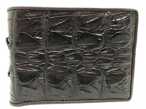 Dark Brown Genuine Crocodile Alligator Tail Skin Leather Men's Bifold Wallet