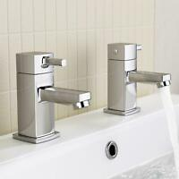 iBathUK | Pair of Hot and Cold Basin Sink Mixer Taps Chrome Bathroom Faucets...