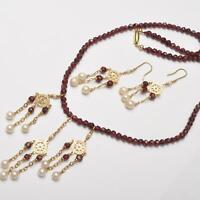 Granat Schmuckset Halskette und Ohrringe, 14 und 18 Karat Gold Granat und Perlen