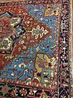 Antique Old Used Per Sian He ris Wool Rug Carpet,Ca:1920,Size:10.3 Ft By 7.8 Ft
