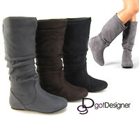 Womens Boots Knee High Fashion Slouch Stylish Shoes Flat Boot Faux Suede Comfort
