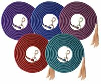 "English or Western Horse 25' Nylon Pro Braid 5/8""Lunge Line w/ Horsehair Tassel"