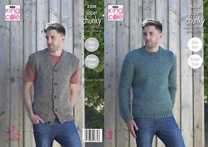 Mens Super Chunky Knitting Pattern King Cole Waistcoat & Sweater Jumper 5308