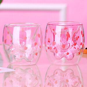 Cat Claw/Paw Cup Double Glass Coffee Mug Cartoon Cute Cat Milk Juice Cup CaSG