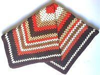 Vintage Lap Blanket Throw Hand Crocheted 1980's Browns Yellow Orange White Cream