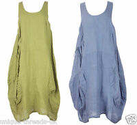 New QUIRKY Italian LAGENLOOK Pocket TULIP Parachute LINEN Dress Tunic PLUS 48""