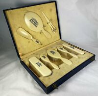 Antique French Vanity Set, French Brushes 8 Pieces in Original Box, Edwardian