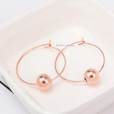 Beautiful Stainless Steel 18K Rose Gold Plated Hoop Bead Earrings