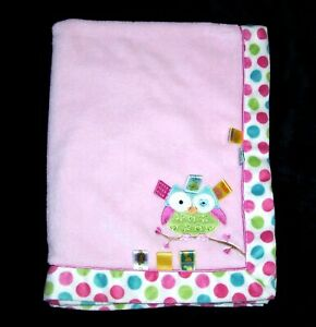 TAGGIES Pink Owl Polka Dot Trim Baby Blanket Satin Tags Security Lovey 30x40