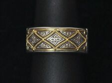 Konstantino Men's Diamond-Pattern Ring Wedding Band Sz 10 Sterling 18K Gold New