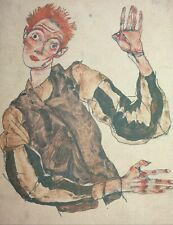 Egon Schiele, Self-Portrait with Striped Armlets, Hand Signed Lithograph