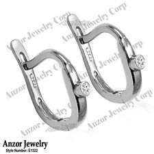 Russian Jewelry Genuine Diamond Children Earrings in Solid 14k White Gold