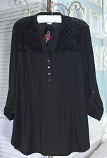 c1be575cb8471 NEW ~ Plus Size 1X XL Black Boho Peasant Snap Travel Flocked Top Shirt  Blouse