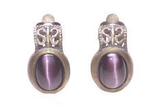 Stunning Ladies Rustic Bronze / Purple Stone Retro Unique Earrings(Zx58)