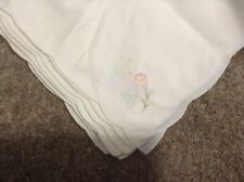 "Set 7 Vintage White 100% cotton embroidered flower Corner Napkins 16"" square new"