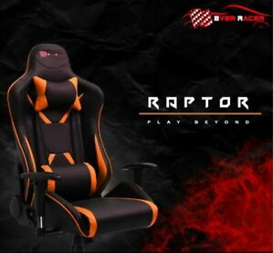 Everracer Premium Gaming & Office Chair Orange with PU Leather and Head Cushion