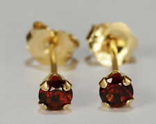 BEENJEWELED PETITE GENUINE NATURAL MINED RED GARNET EARRINGS~ 14 KT YLW GOLD~3MM