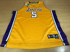 ADIDAS NBA LOS ANGELES LA LAKERS JORDAN FARMAR #5 BASKETBALL JERSEY YELLOW XXL