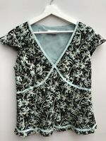 Ladies Top Silk Size 14 Petite Minosa Brown & Turquoise <MM12z