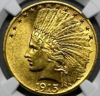 1915 $10 Indian Head Eagle Gold Coin ~ Certified ~ NGC ~ UNC. Details Graded.