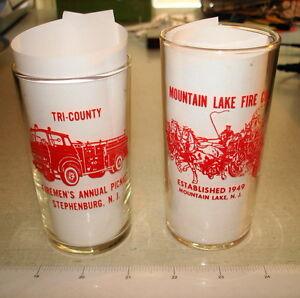 2 Red ACL FIREMEN'S Souvenir Glass Lot Stephenburg NJ Mountain Lake NJ NR