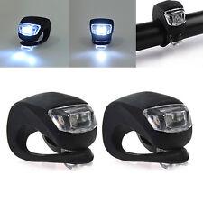 2 x LED Bike Fahrrad Silikon Kopf vorne hinten Sicherheit Warnung Licht Lampe