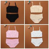 2pcs Puberty Girl Cotton Soft Bra+Pant Student Underwear Set Girls Training Bras