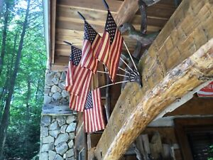 Primitive Style Iron Wall Mount Flag Holder with 5 American Flags