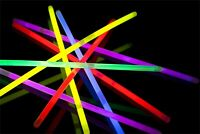 "50 X GLOW STICKS 8"" PREMIUM UV BRACELETS + 50 CONNECTORS NEON COLOURS PARTY RAVE"