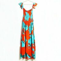 Lulus On the Road Off-the-Shoulder Red & Teal Floral Maxi Dress Size XS