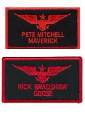 More details for maverick goose top gun name badge 80s film movie sew on flight suit jacket patch