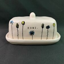 Rae Dunn Covered Butter Dish HOME Stem Flowers Farmhouse Artisan Collection