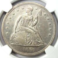 1860-O Seated Liberty Silver Dollar $1 - NGC AU Details - Rare Early Coin!