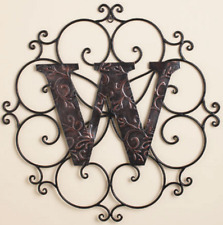 Monogram Metal Wall Sculpture Hanging Rustic Scrolled Medallion Large Letter W