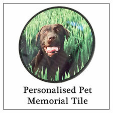 Pet Memorial Photo Tile - Metal Plaque for Dog, Cat, Rabbit Graves Plaques Urns