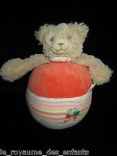 Doudou Culbuto Ours beige orange Noukie's papillon brodé 19 cm