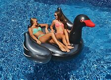 Black Swan Giant Pool Inflatable Ride On Float Lounge Double Mat Swimline 90628