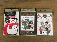 Vintage Christmas Party Invitations Snowman Cardinals Kids Lot Of 3 Hallmark