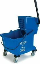 Carlisle Commercial Mop Bucket With Side Press Wringer 35 Quart Capacity Blue