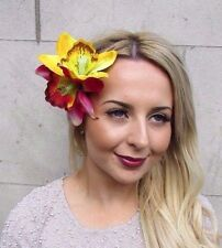 Double Hot Pink Yellow Orchid Flower Hair Clip Rockabilly 1950s Fascinator 2991