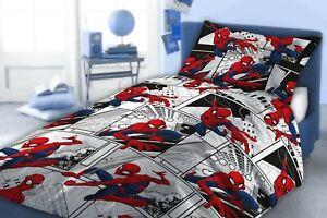 SPIDERMAN SINGLE METROPOLIS BED DUVET COVER SET COMIC STRIP RED BLACK WHITE GREY