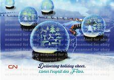 UNUSED 2015 CN RAIL CHRISTMAS CARD, Canadian National, holiday train, snow globe