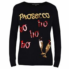 Womens Ladies Sequin Prosecco Novelty Christmas Jumper Soft Thin Xmas Sweater  L